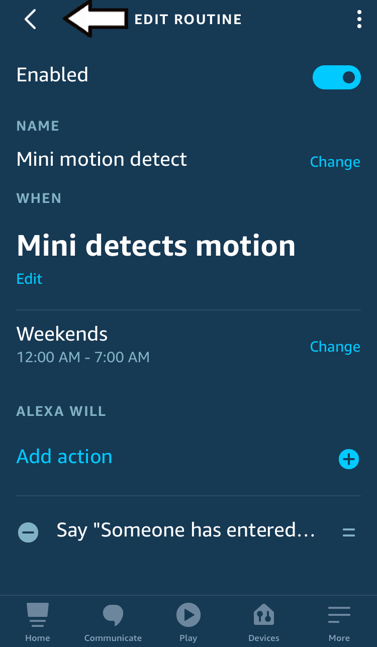tap the back arrow to save changes