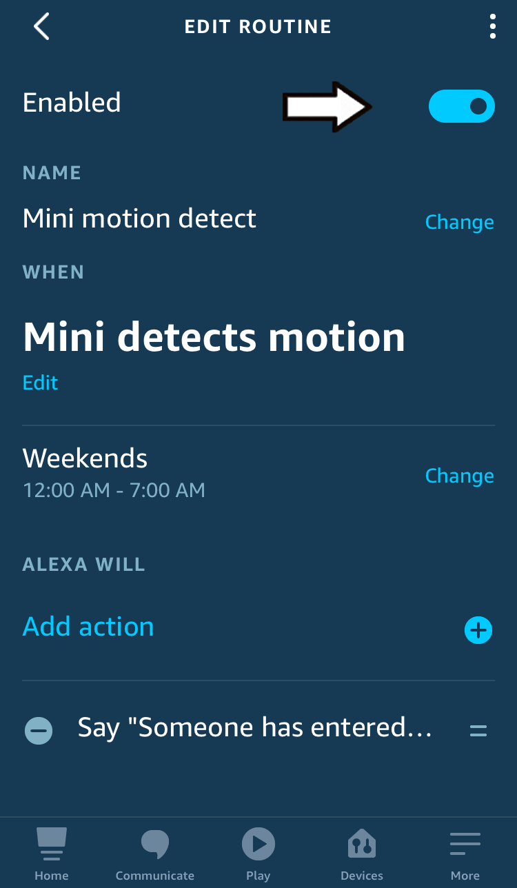tap the enabled toggle to disable