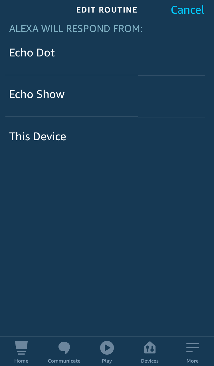 tap choose device to select which alexa device to speaks the alert