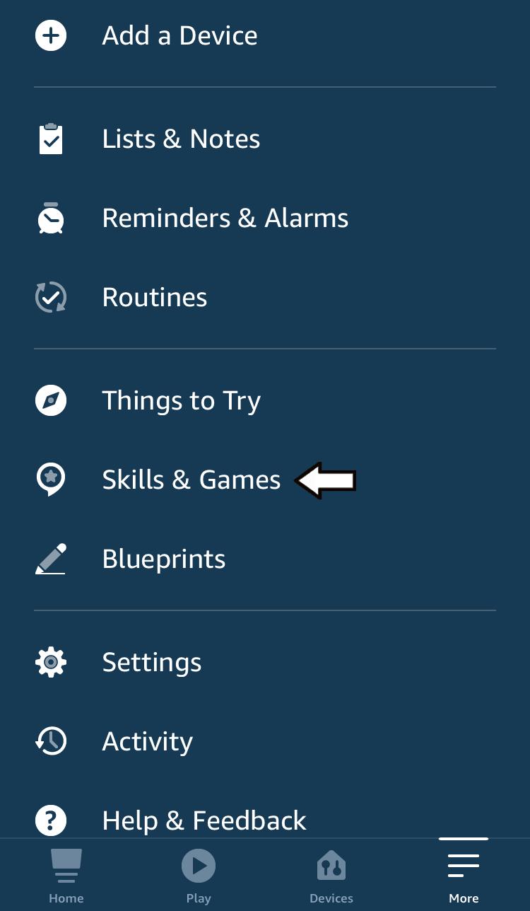 "select ""Skills & Games"" from curtain menu"