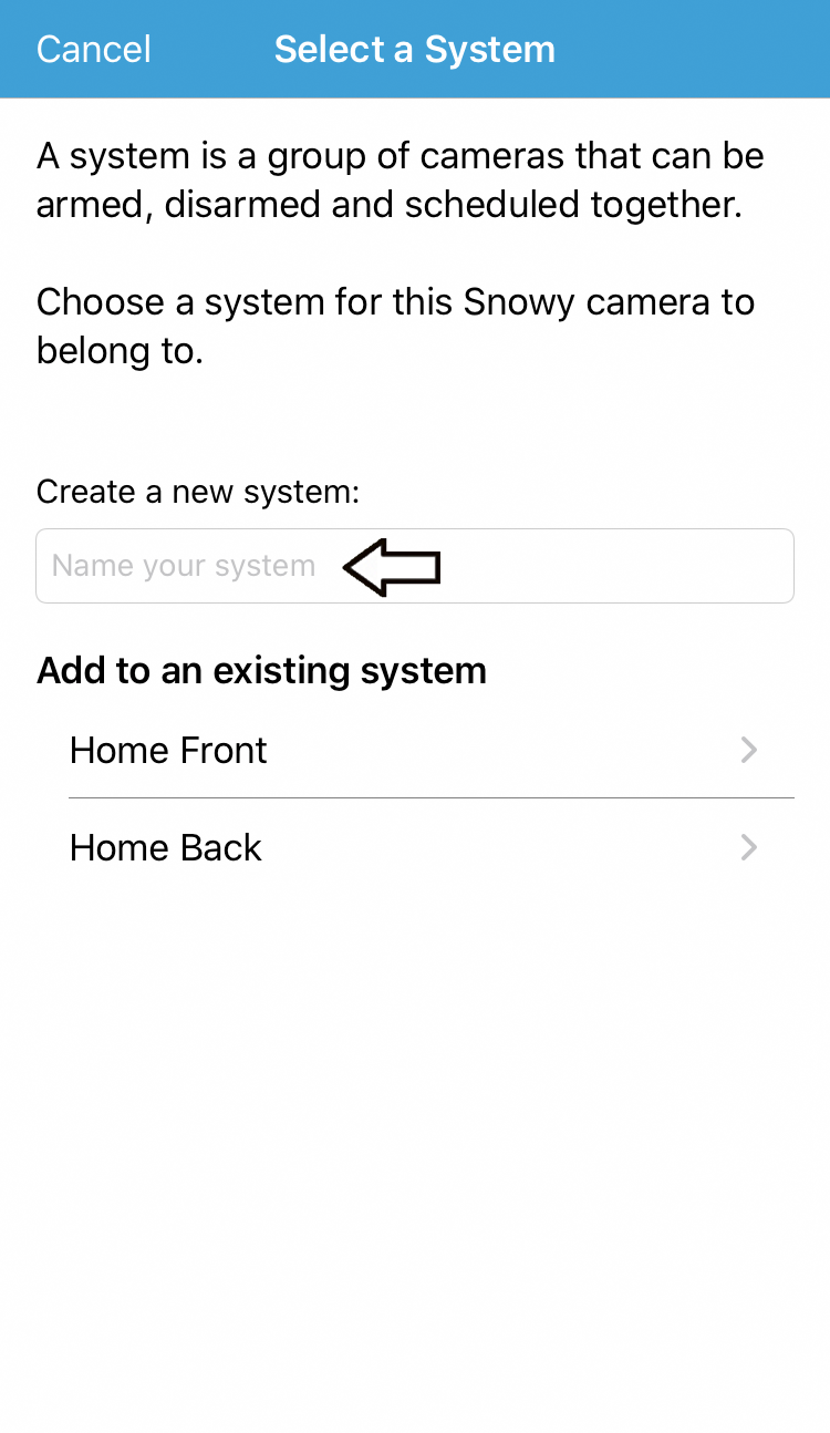 add a system name or tap a system