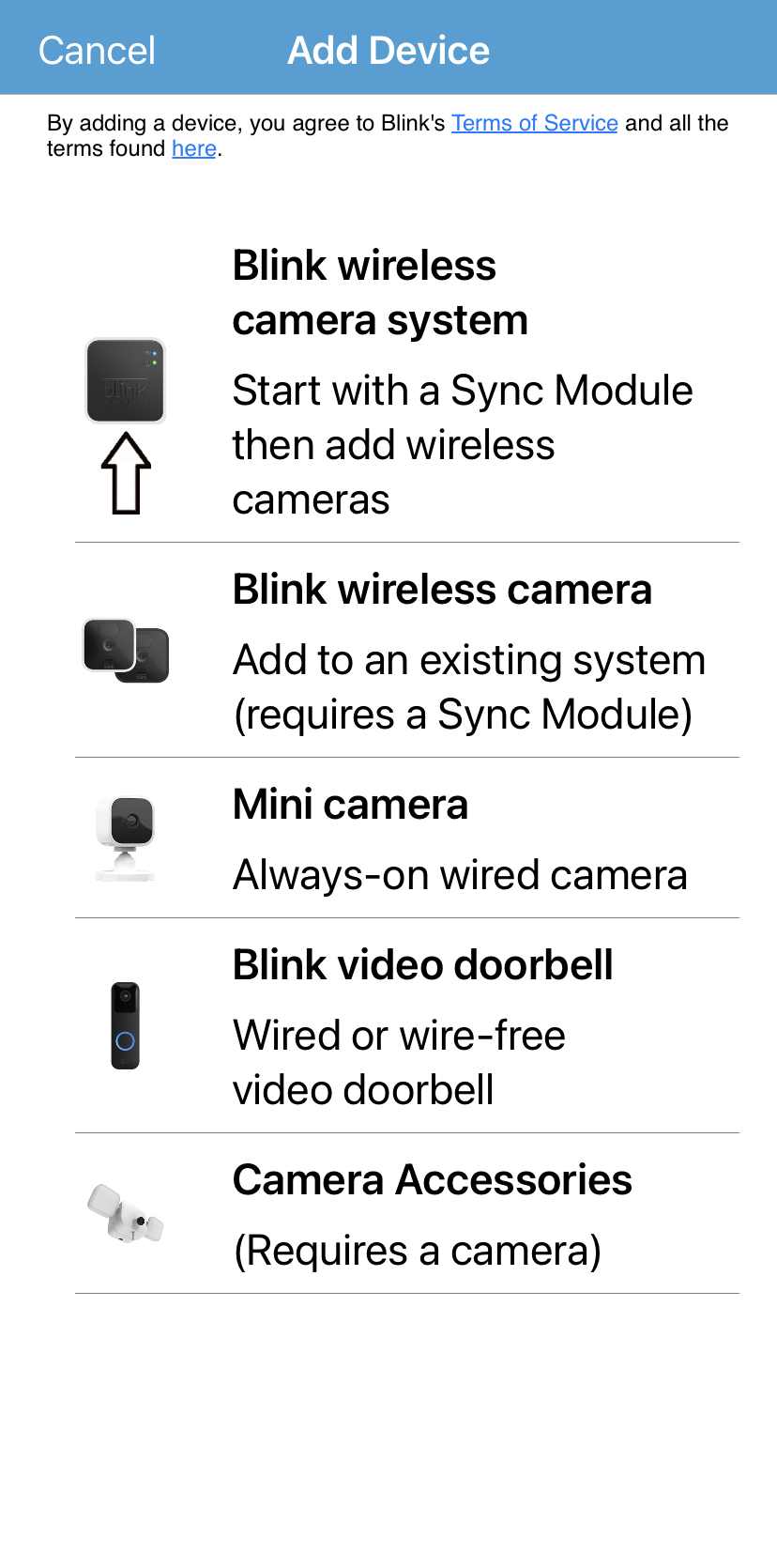add camera and device screen of Blink app