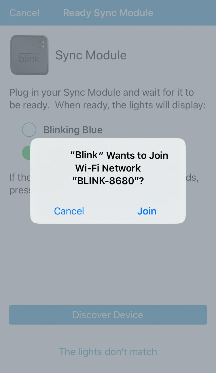 join Blink network app dialog