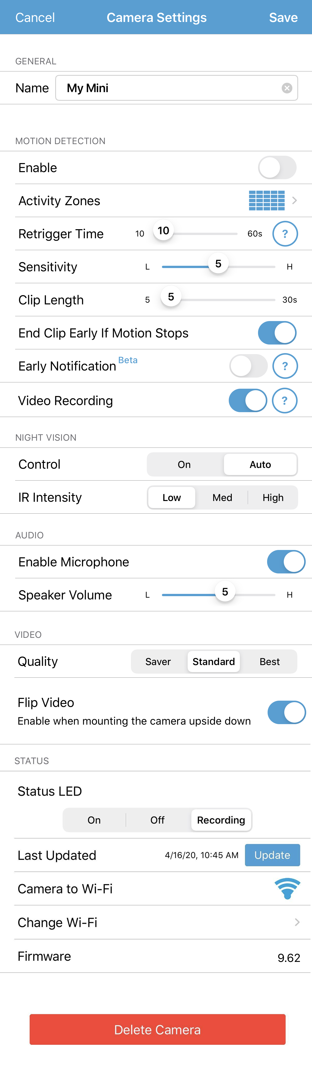 Settings page for Mini cameras