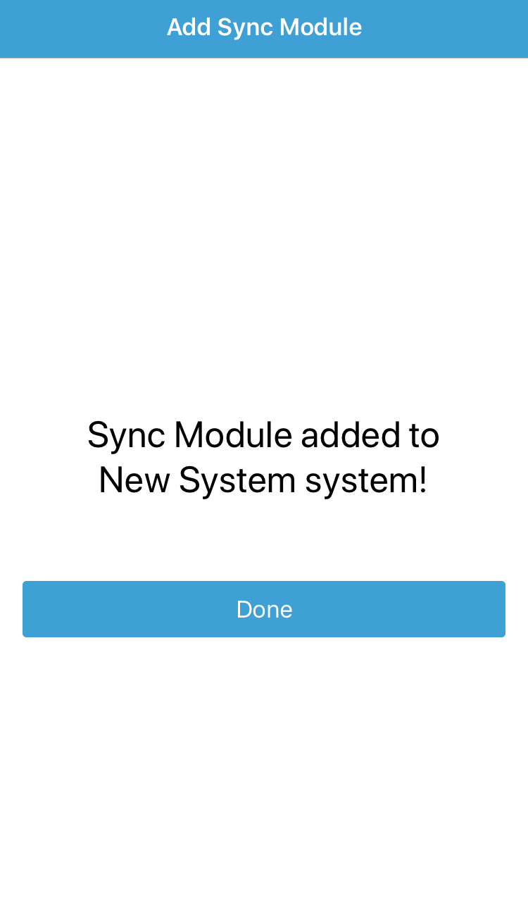 Adding sync module steps complete