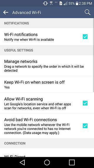 LG G4 wi-fi settings