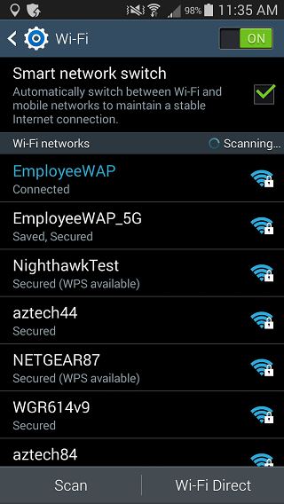 Samsung Galaxy Note 2 wi-fi settings